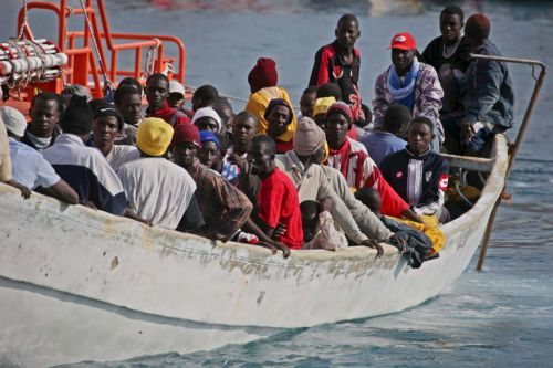 A boat with 55 sub-Saharan illegal immigrants on board