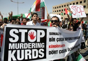 Iraqi Kurds demonstrate on August 24, 20