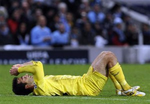 Villarreal's Rossi reacts during their Champions League Group A soccer match against Manchester City in Manchester