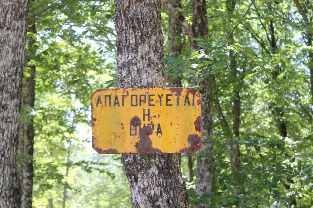 Παλιά πινακίδα για το κυνήγι σε ένα από τα δέντρα που σώθηκαν από το μαζικό ξερίζωμα του δάσους.
