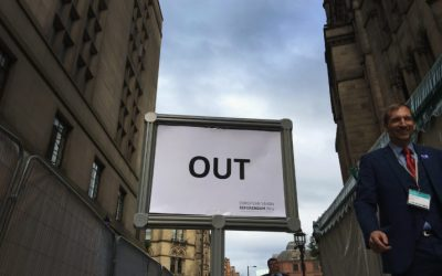 MANCHESTER, ENGLAND - JUNE 24:  (Editors note; Image taken on a smart phone) The 'out' exit sign directs media and guests away from the announcement of the final voting results of the EU referendum at Manchester Town Hall on June 24, 2016 in Manchester, England. The results from the historic EU referendum has now been declared and the United Kingdom has voted to LEAVE the European Union.  (Photo by Christopher Furlong/Getty Images)